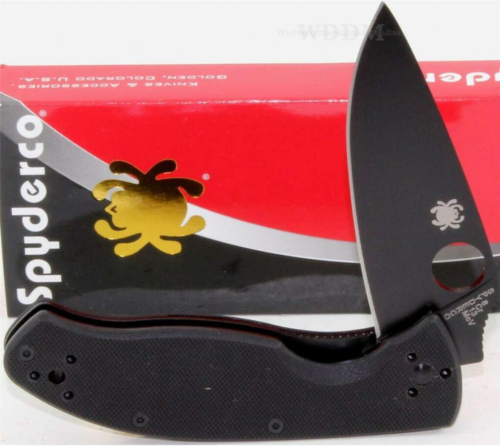 Spyderco Gold Full Black Tenacious G-10 Linerlock Folder Folding Pocket Knife