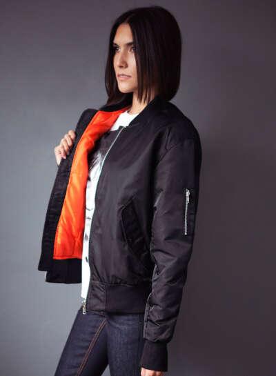 Retro Black MA1 Bomber Jacket for woman