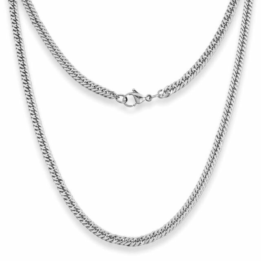 4mm Curb Mens Necklace - Silver Chain Stainless Steel Jewellery (06)