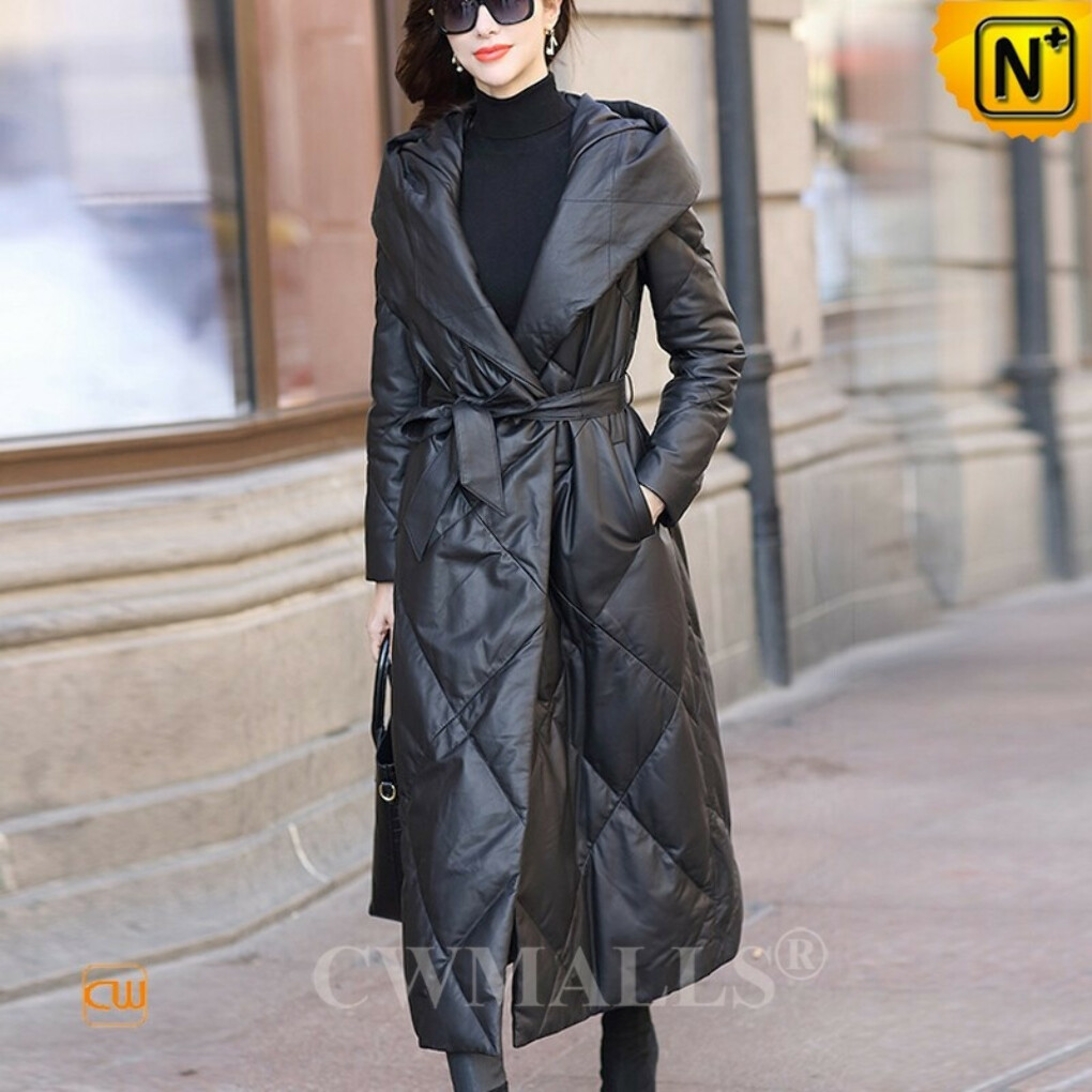 Women Down Coat | Custom Quilted Leather Long Parka Coat CW602638 | CWMALLS®