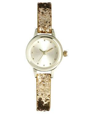 Часы с золотым блестящим ремешком New Look