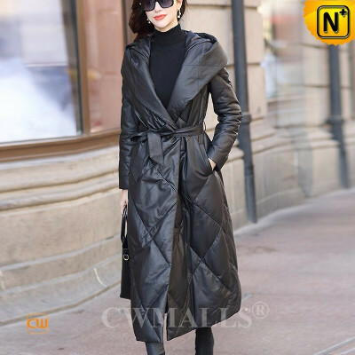Women Down Coat   Custom Quilted Leather Long Parka Coat CW602638   CWMALLS®