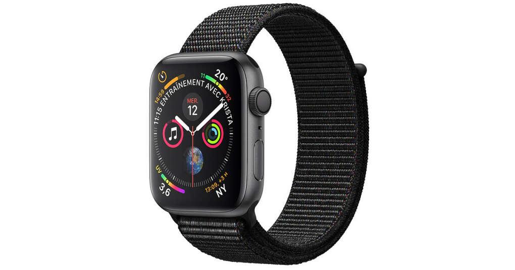 Apple Watch - Boîtier en aluminium gris sidéral avec Boucle Sport noir