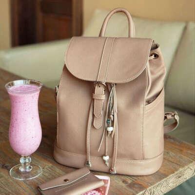 Рюкзак кожаный Olsen  / Бежевый