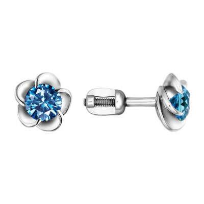Серьги-гвоздики из серебра с голубым фианитом