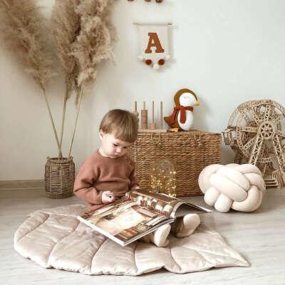 Коврик для детской Childrens Textiles Листик, Сатин, бежевый, 1х0.7 м