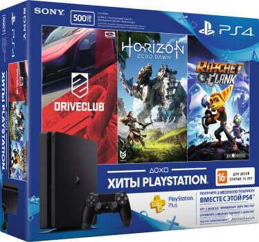 Sony PlayStation 4 Slim 500GB Rus Black Bundle (CUH-2108A) + Horizon Zero Dawn + Ratchet & Clank + Driveclub + PSPlus 3 месяца