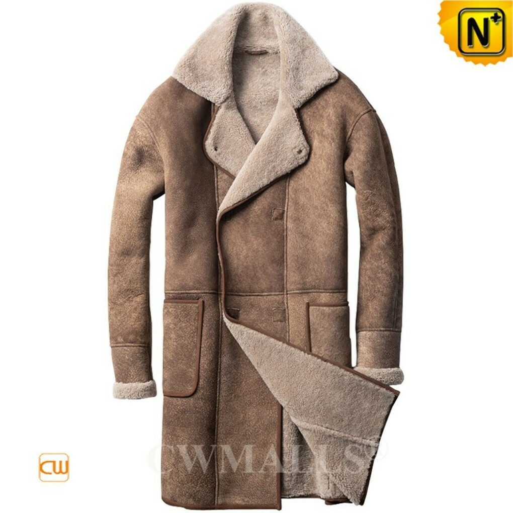 Sheepskin Trench Coat | Custom Double Breasted Shearling Coat CW828633 | CWMALLS®