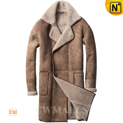 Sheepskin Trench Coat   Custom Double Breasted Shearling Coat CW828633   CWMALLS®