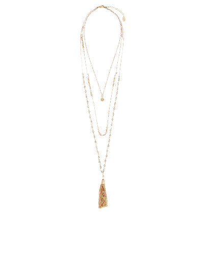 Accessorize | Stella Layered Tassel Rope Necklace | Gold