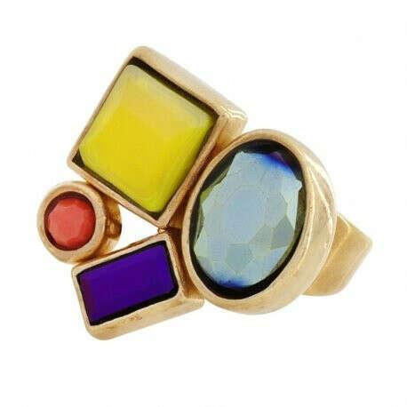 TARATATA | Купить Кольцо Face a face золотистое с цветными кристаллами