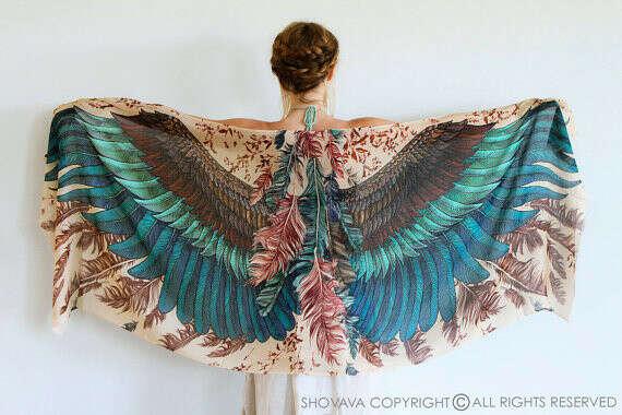шарф с перьями