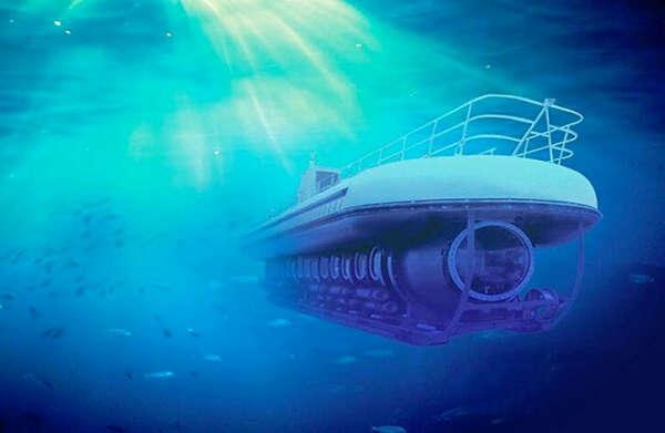 погрузиться в воду на подводной лодке