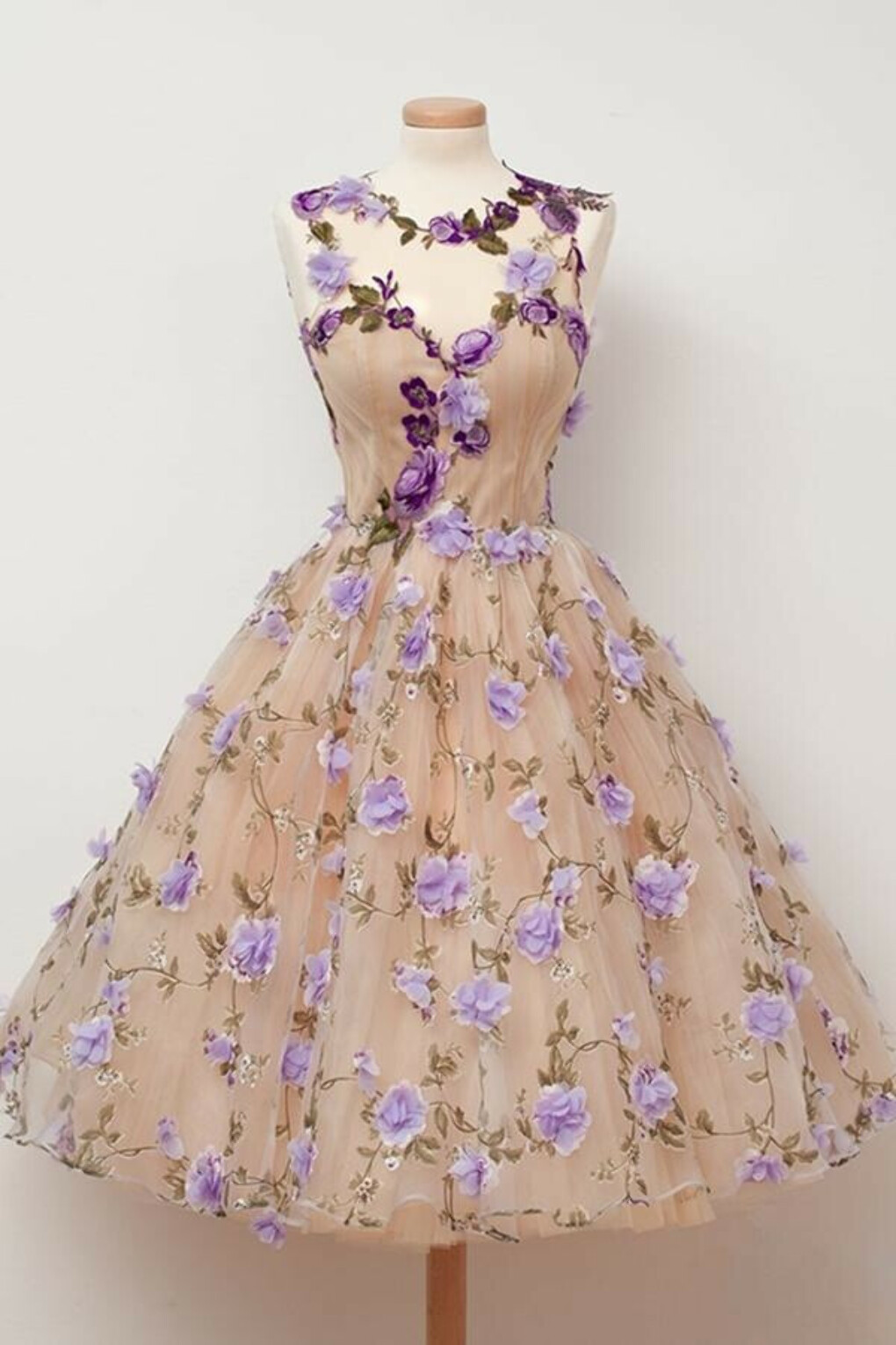 Anneprom Sheer Sweetheart Floral Homecoming Dress APH0076