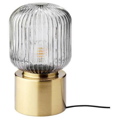 СОЛКЛИНТ Лампа настольная, латунь/серое прозрачное стекло, 28 см - IKEA