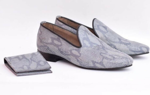 Gray Print Skin Fashion Mens Dress Shoes | Gray Loafers for Men & Wallet