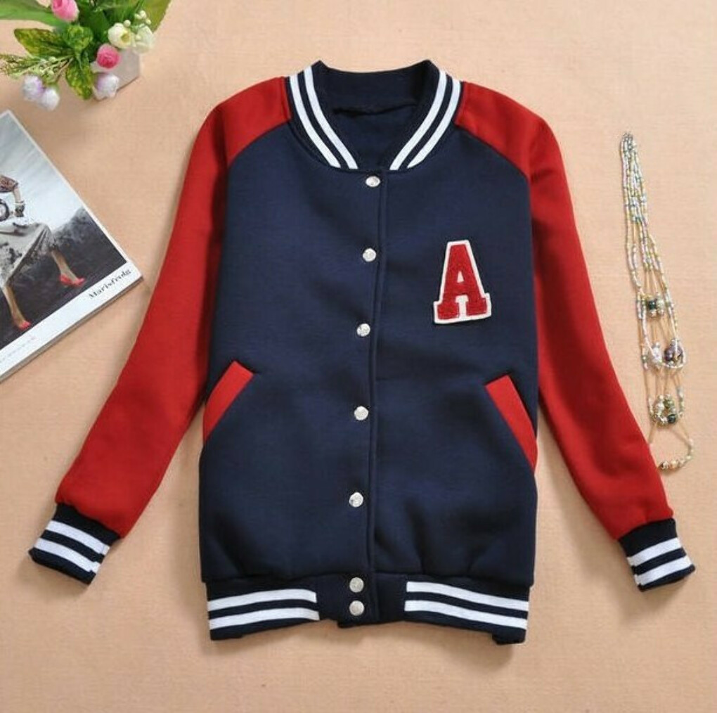 New Autunm Women A Letter Varsity Sport Jacket Mandarine Baseball Coat Fashion Long Sleeve Sportwear-in Hoodies & Sweatshirts from Apparel & Accessories on Aliexpress.com
