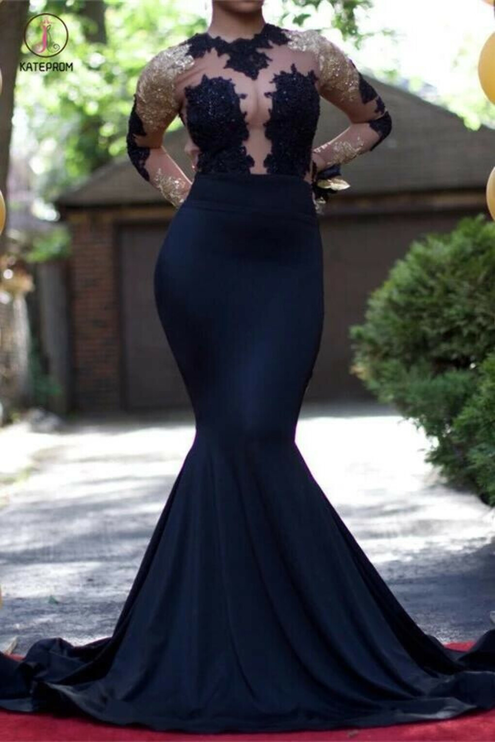Black Mermaid Long Sleeves Gold Lace Appliques See Through Prom Evening Gowns KPP0402