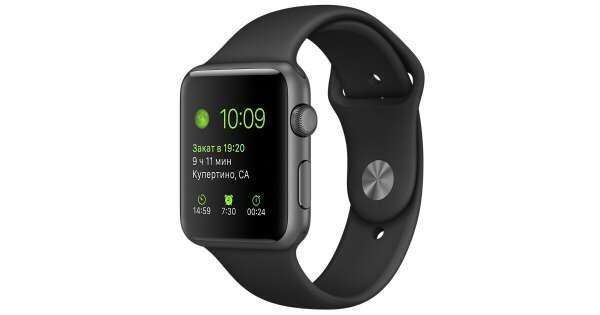 Apple Watch Sport - Корпус 42 мм, алюминий цвета «серый космос», спортивный ремешок чёрного цвета