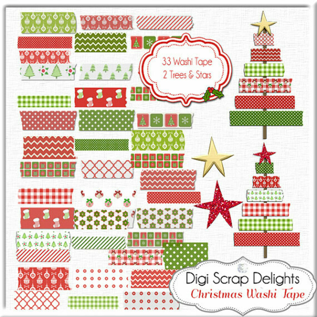 Christmas Clip Art: Washi Tape, Clip Art Red, Green, Christmas Trees, Chevron, Gingham, Quatrefoil, Digital Scrapbooking, Instant