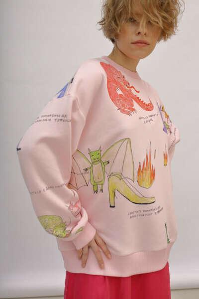 Розовый свитшот с принтом «Шальная принцесса»