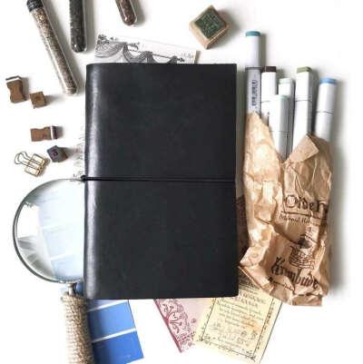 Кожаная обложка для 1-3 блокнотов Maxgoodz Cover B5 18х27 см, черная