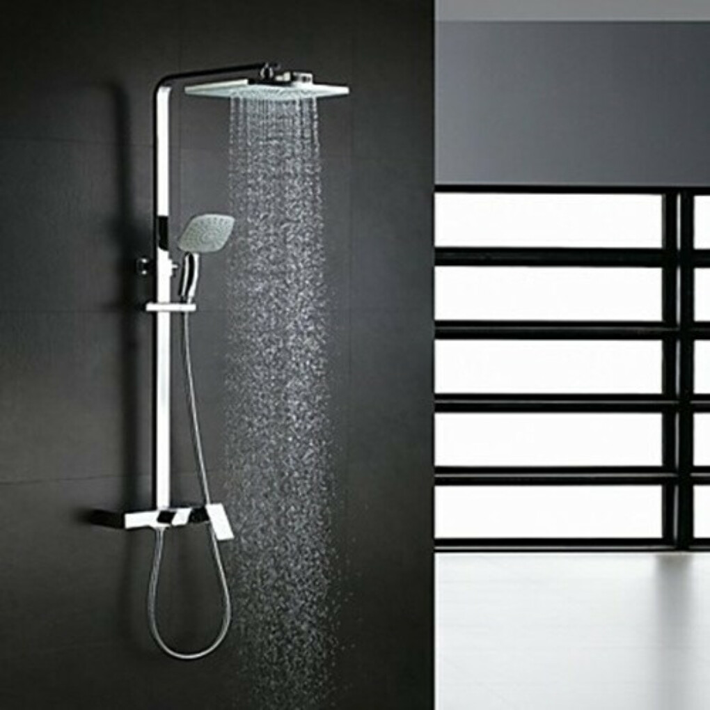 Contemporary Waterfall Rain Shower Handshower Included Brass Chrome Shower Faucet At FaucetsDeal.com