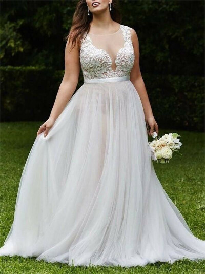 Sexy Champagne See Through A line Wedding Dresses Online, WD407