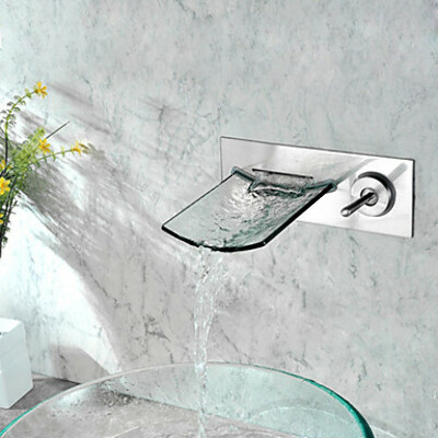 Wall Mounted Nickel Copper Waterfall Bathroom Sink Faucet At FaucetsDeal.com