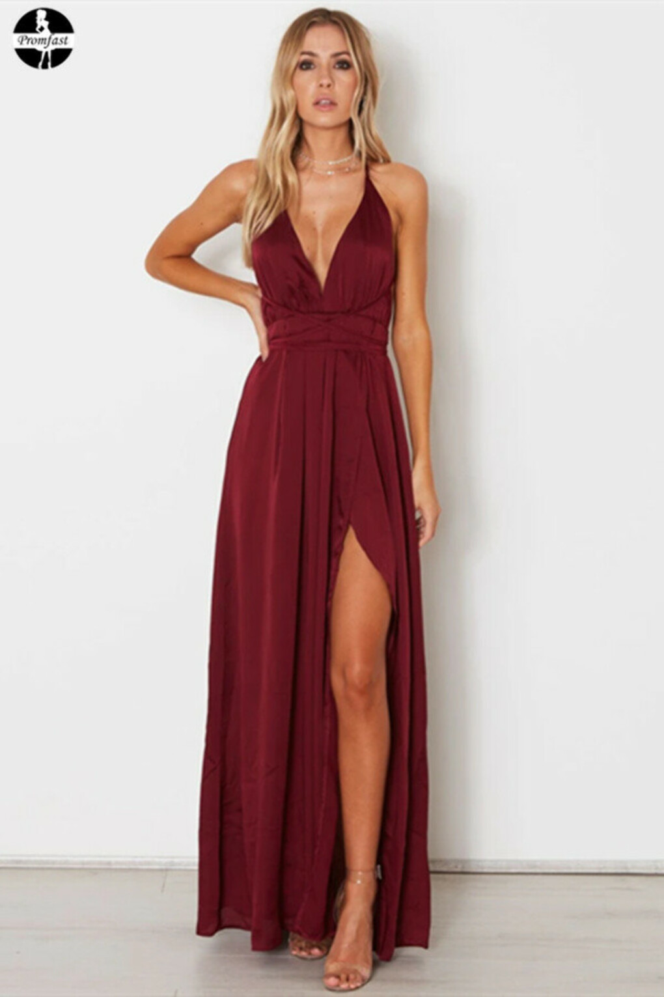 2021 A-line Custom Spaghetti Straps Prom Dresses Burgundy Long Prom Dresses Evening Dress PFP1979