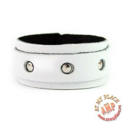Белый кожаный браслет KB0030