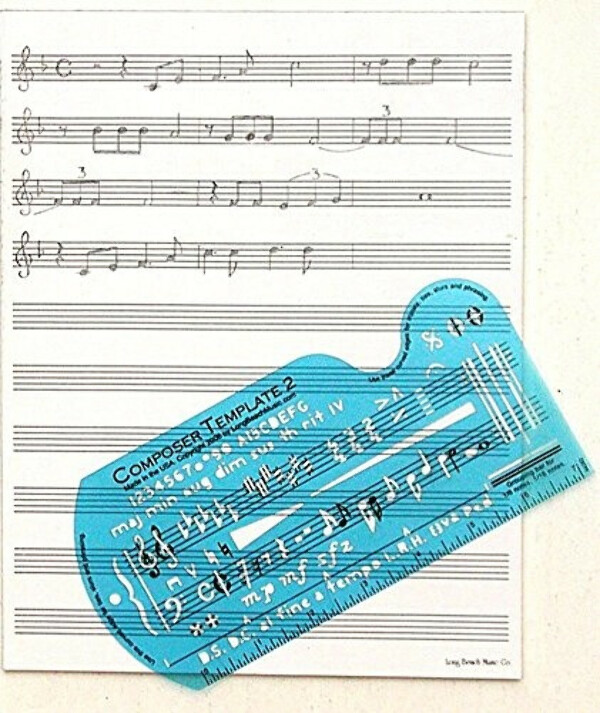 Song Writer's Composing Template for Music Notes & Symbols