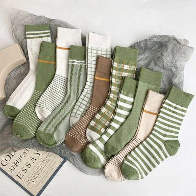 171.03руб. 19% СКИДКА|Популярные женские хлопчатобумажные носки авокадо зеленого цвета, винтажные Дышащие Короткие носки в полоску для девочек Matcha|Носки|   | АлиЭкспресс