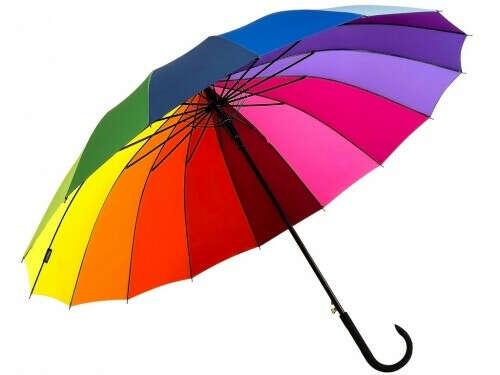 Зонт трость Радуга 16 спиц большой купол