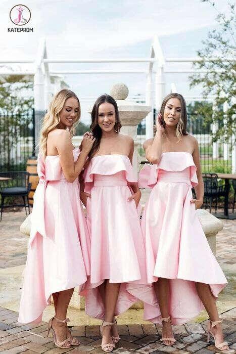 High Low Strapless Bridesmaid Dress, Pink Short Bridesmaid Dress with Bow KPB0019