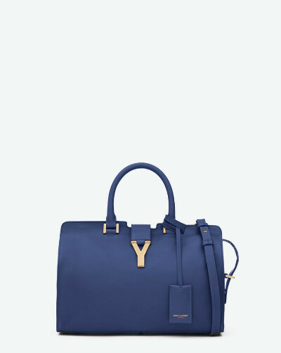 Saint Laurent Classic Small Y Cabas Bag In Blue Leather | ysl.com