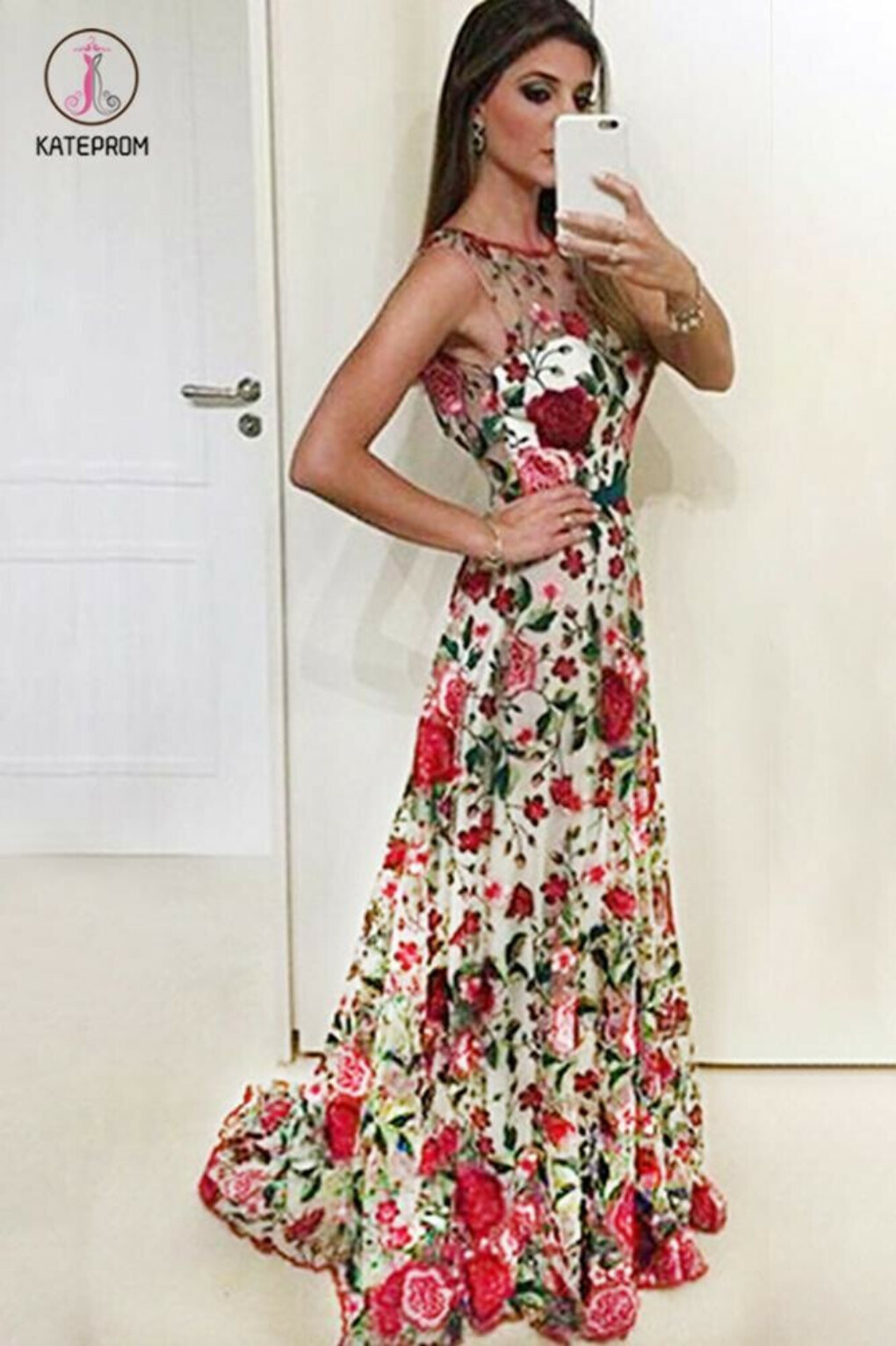 A Line Sleeveless Prom Dress with Embroidery, Long Evening Dresses with Red Flowers KPP0686