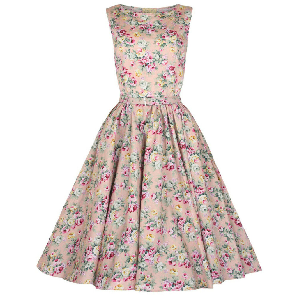 Классическое платье в стиле Одри Хепберн, персиковое с цветочным принтом
