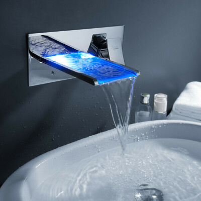 Color Changing LED Waterfall Bathroom Sink Faucet (Wall Mount) At FaucetsDeal.com