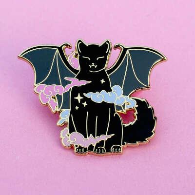 Vampire Cat Enamel Pin