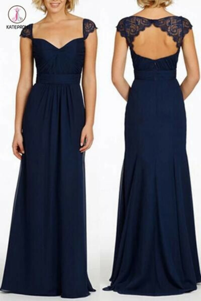 Navy Blue Long Open Back Cap Sleeve Chiffon Bridesmaid Dress KPB0032