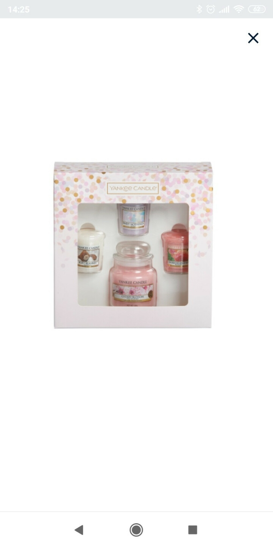 """Подарочный набор 3 вотива и свеча  """"Нежный букет"""" (Цветущая вишня-свеча, вотивы- мягкое одеяло, сладость, солнечная абрикосовая роза)"""