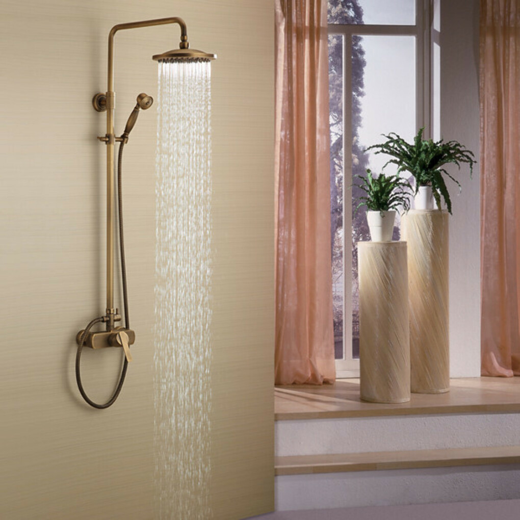 Antique Brass Tub Shower Faucet with 8 inch Shower Head At FaucetsDeal.com