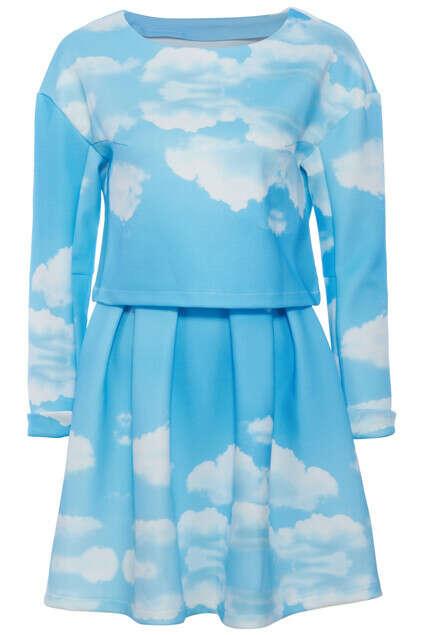 blue sky white clouds print