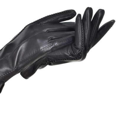 кожаные черный перчатки