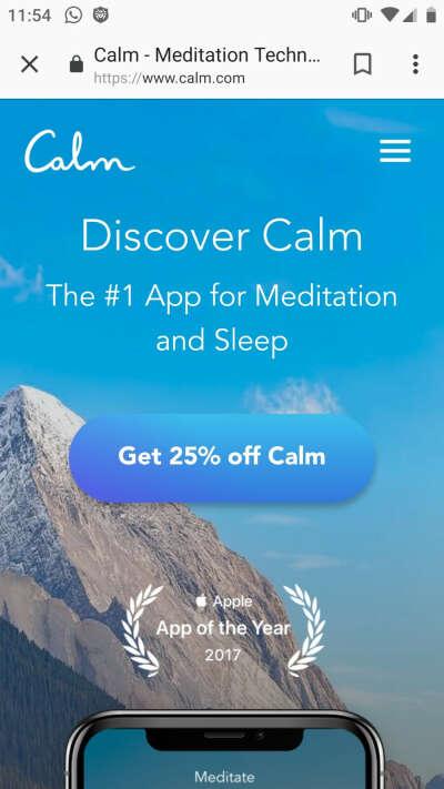 Годовая подписка на приложение Calm