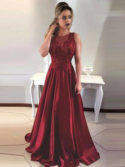 2018 Sexy Backless Red A-line Long Evening Prom Dresses, 17702