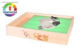"""""""ЧУДО-стол КЕНГУРУ+"""" с карманом. Световой стол/планшет для рисования песком (песочной анимации) с цветной подсветкой."""