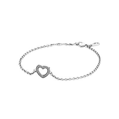 PANDORA | Серебряный браслет «Сердце» с кубическими циркониями