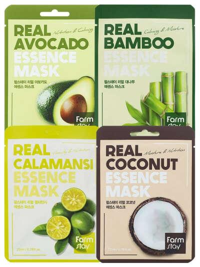 """Набор тканевых масок FarmStay, 4 шт., """"Увлажнение и питание"""", FarmStay"""